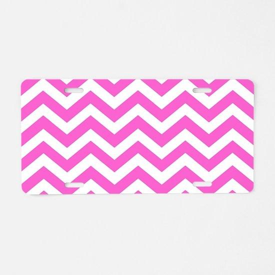Pink Chevron Pattern Aluminum License Plate