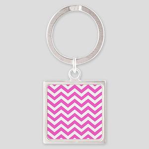 Pink Chevron Pattern Keychains