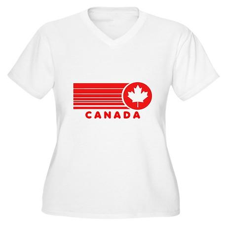 Vintage Canada Women's Plus Size V-Neck T-Shirt