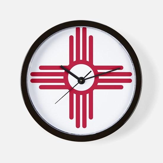 Red Zia NM State Flag Desgin Wall Clock