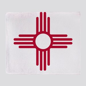 Red Zia NM State Flag Desgin Throw Blanket