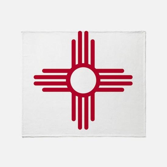 Red Zia NM State Flag Desgin Throw Blanket