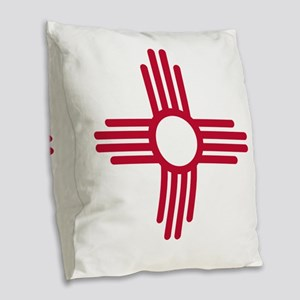 Red Zia NM State Flag Desgin Burlap Throw Pillow