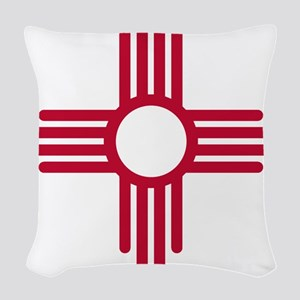 Red Zia NM State Flag Desgin Woven Throw Pillow