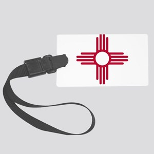 Red Zia NM State Flag Desgin Large Luggage Tag