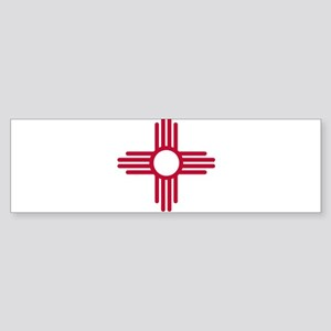 Red Zia NM State Flag Desgin Bumper Sticker