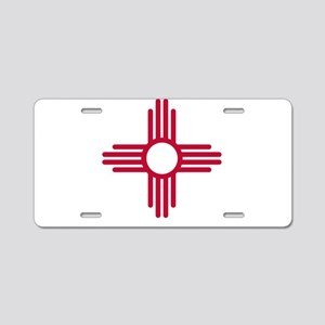 Red Zia NM State Flag Desgi Aluminum License Plate