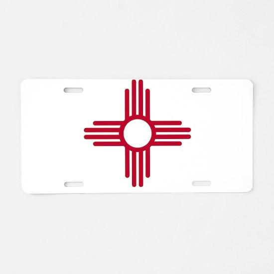 Red Zia NM State Flag Desgi Aluminum License Plate