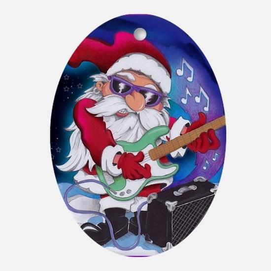 Rockin' Santa Christmas Ornament (Oval)