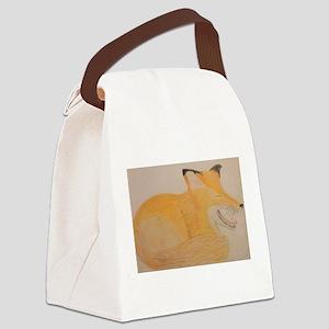Sleepy Fox Canvas Lunch Bag