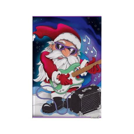 Rockin' Santa Christmas Rectangle Magnet