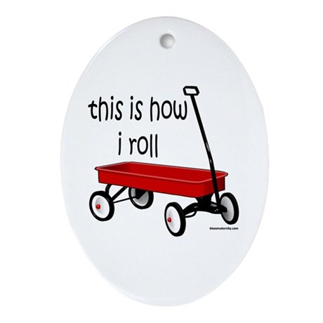 LITTLE RED WAGON Oval Ornament