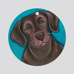 "Chocolate Lab ""Hershey"" Ornament (Round)"