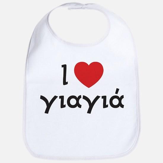 I Love Heart Yiayia Bib