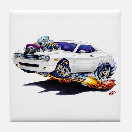 Challenger White Car Tile Coaster