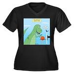 T-Rex Basket Women's Plus Size V-Neck Dark T-Shirt