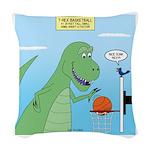 T-Rex Basketball Woven Throw Pillow