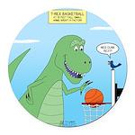 T-Rex Basketball Round Car Magnet