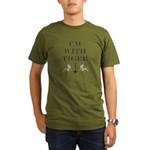 I'm with Tiger (stupid) Organic Men's T-Shirt (dar