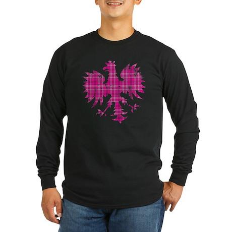 Pink Plaid Polish Eagle Long Sleeve Dark T-Shirt