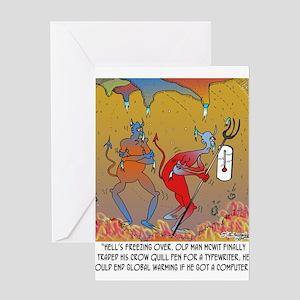 Writing Cartoon 7709 Greeting Card