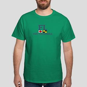 Fort Lauderdale FL - Nautical Flags Design Dark T-