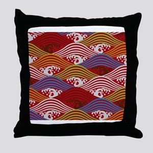 Japanese textile Wave(Nami) Throw Pillow