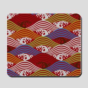 Japanese textile Wave(Nami) Mousepad