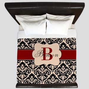 Beige Red Damask Personalized King Duvet