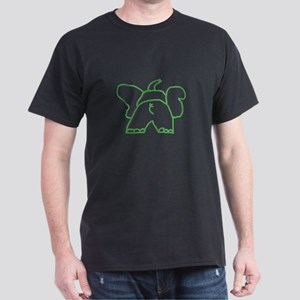 Green Elephant Black T-Shirt