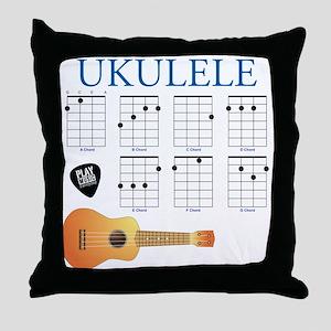 Ukulele 7 Chords Throw Pillow