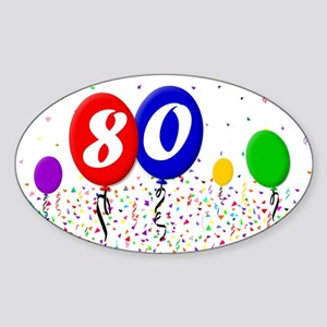 80th Birthday Oval Sticker