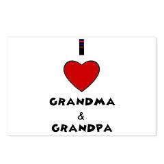 I LOVE GRANDMA AND GRANDPA Postcards (Package of 8