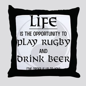 Rugby and Beer Throw Pillow