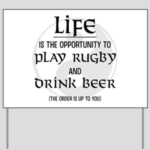 Rugby and Beer Yard Sign