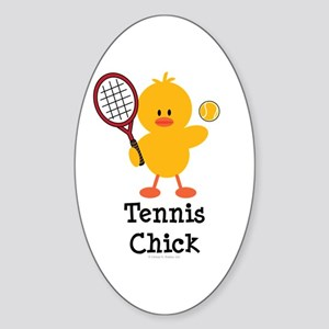 Tennis Chick Oval Sticker