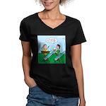 Rain Gutter Boat Race Women's V-Neck Dark T-Shirt
