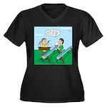 Rain Gutter Women's Plus Size V-Neck Dark T-Shirt