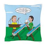 Rain Gutter Boat Race Woven Throw Pillow