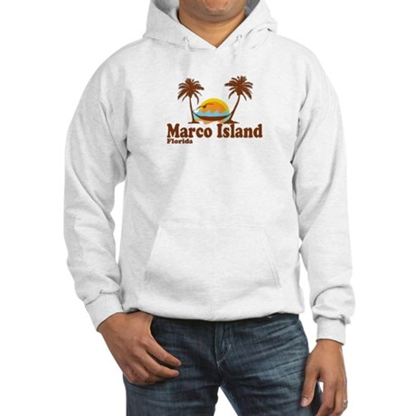 Marco Island FL - Sun and Palm Trees Design Hooded