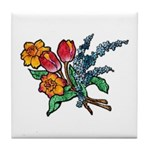 Floral Art Bouquet Tile Coaster