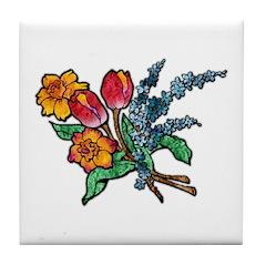 Floral Art Bouquet Tile Coaster
