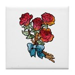 Floral Art Red Roses Tile Coaster