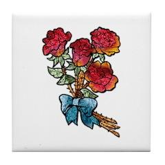 Floral Art Red Roses Tile Coaster
