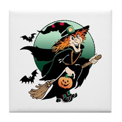 Halloween Art Witch on Broom Tile Coaster