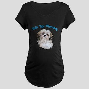 Shih Tzu Mommy Maternity Dark T-Shirt