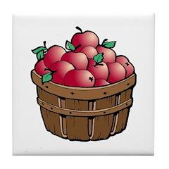Nature Art Apple Basket Tile Coaster
