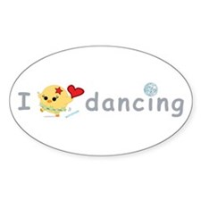 I Love Dancing Oval Sticker