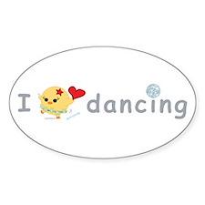 I Love Dancing Oval Sticker