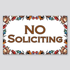 No Soliciting Dogs Rectangle Sticker